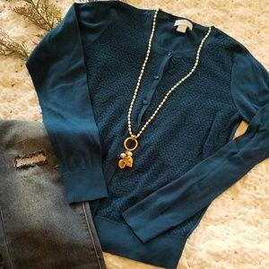 Loft Turquoise Cardigan Size M